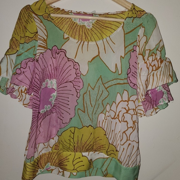 Anthropologie Tops - CCO Anthropologie/odille silk ruffle blouse